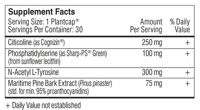 performance lab mind ingredients facts label